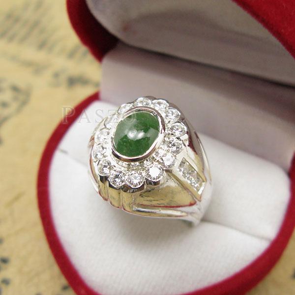 แหวนหยกผู้ชาย ล้อมเพชร แหวนผู้ชายเงินแท้ #3