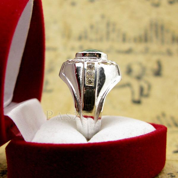 แหวนหยกผู้ชาย ล้อมเพชร แหวนผู้ชายเงินแท้ #4