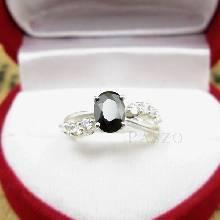 แหวนนิล ฝังเพชรด้านข้าง ตัวแหวนเงินแท้ 925