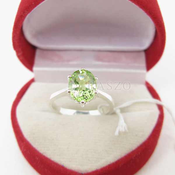 แหวนพลอยเพอริดอท พลอยสีเขียวน้ำมะนาว ตัวแหวนเงินแท้ #2