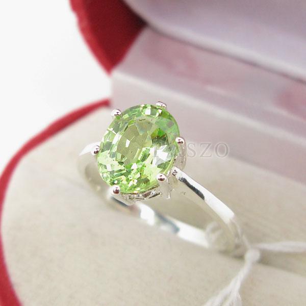 แหวนพลอยเพอริดอท พลอยสีเขียวน้ำมะนาว ตัวแหวนเงินแท้ #3