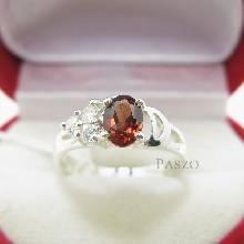 แหวนพลอยโกเมน สีแดง ประดับเพชร แหวนเงินแท้