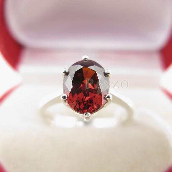 แหวนพลอยโกเมน สีส้มอมแดง เม็ดเดียว #3