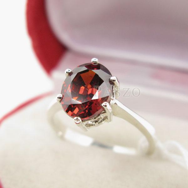 แหวนพลอยโกเมน สีส้มอมแดง เม็ดเดียว #4