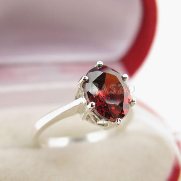 แหวนพลอยโกเมน สีส้มอมแดง เม็ดเดียว #2