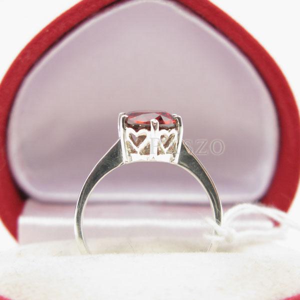 แหวนพลอยโกเมน สีส้มอมแดง เม็ดเดียว #5