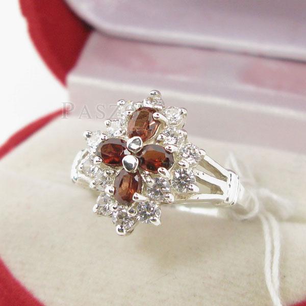 แหวนพลอยโกเมน สีส้ม ล้อมด้วยเพชร #2