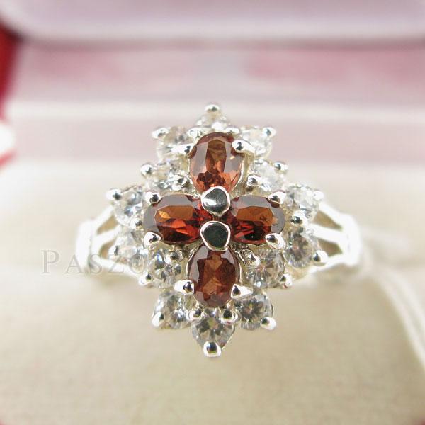 แหวนพลอยโกเมน สีส้ม ล้อมด้วยเพชร #3
