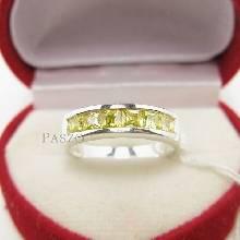 แหวนพลอยสีเหลือง แหวนพลอยแถว แหวนเงินแท้ บุษราคัม