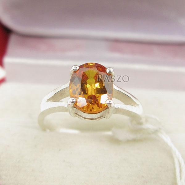 แหวนพลอยบุษราคัม สีเหลืองส้มหรือพลอยแม่โขง แหวนเงินผู้หญิง #2