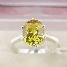 แหวนบุษราคัม แหวนพลอยสีเหลือง เม็ดเดี่ยว แหวนเงินแท้ หนามเตย6จุด