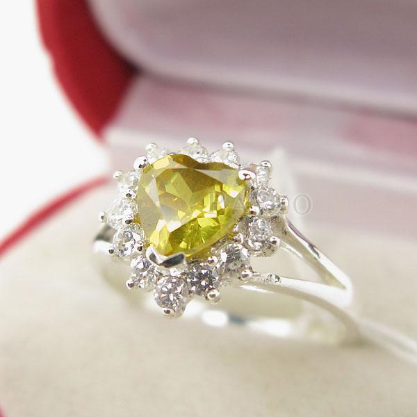 แหวนบุษราคัม พลอยสีเหลือง หัวใจ #4
