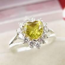 แหวนบุษราคัม พลอยสีเหลือง หัวใจ ล้อมเพชร แหวนเงินแท้