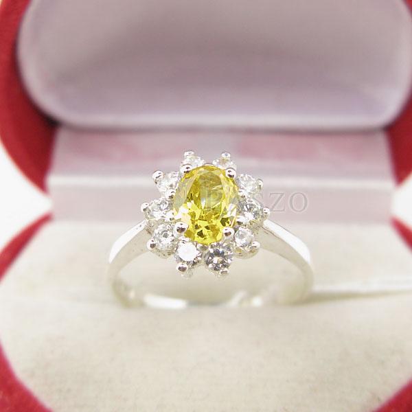 แหวนพลอยบุษราคัม ล้อมเพชร แหวนสีเหลือง #2