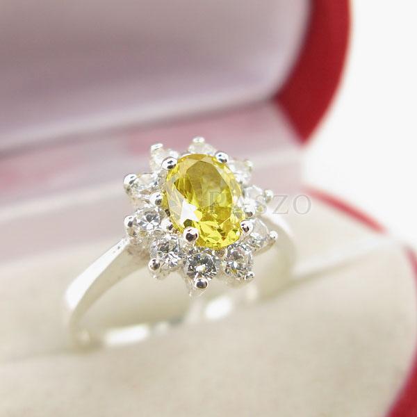 แหวนพลอยบุษราคัม ล้อมเพชร แหวนสีเหลือง #3