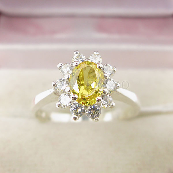 แหวนพลอยบุษราคัม ล้อมเพชร แหวนสีเหลือง #4