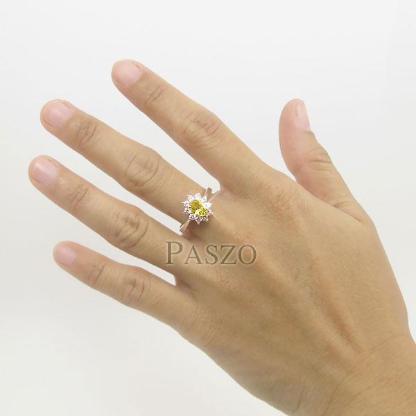 แหวนพลอยบุษราคัม ล้อมเพชร แหวนสีเหลือง #5
