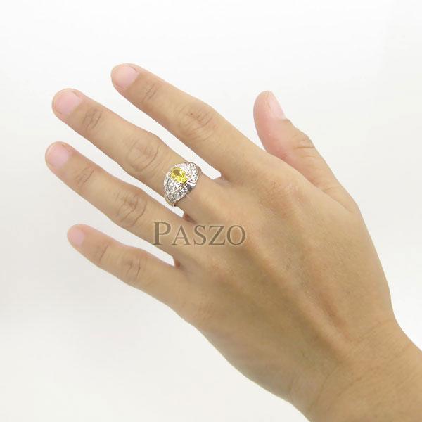 แหวนพลอยบุษราคัม พลอยสีเหลือง ล้อมเพชร #5