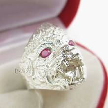 แหวนหนุมาน พลอยสีแดง พลอยทับทิม แหวนเงินแท้ 925 แหวนทับทิมผู้ชาย แหวนผู้ชาย