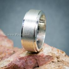 แหวนเกลี้ยง แหวนลดระดับขอบ หน้ากว้าง8มิล ปัดด้าน แหวนเงินแท้