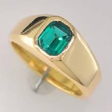 แหวนพลอยมรกต เม็ดเดี่ยว แหวนผู้ชายทองแท้ ฝังพลอยสีเขียว แหวนรุ่นเล็ก