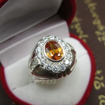 แหวนพลอยผู้ชาย ฝังพลอยบุษราคัม สีำแม่โขง #2