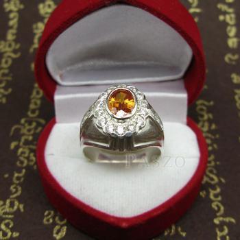 แหวนพลอยผู้ชาย ฝังพลอยบุษราคัม สีำแม่โขง #3
