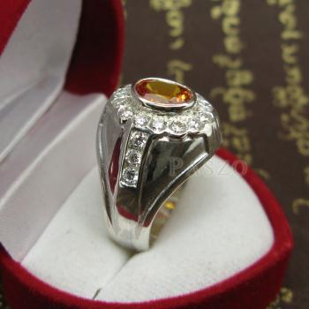 แหวนพลอยผู้ชาย ฝังพลอยบุษราคัม สีำแม่โขง #4