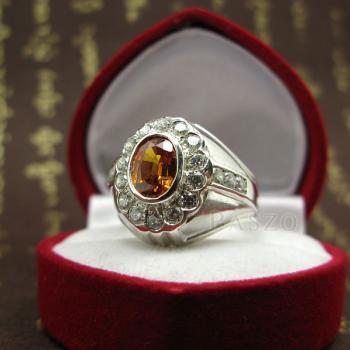 แหวนพลอยผู้ชาย ฝังพลอยบุษราคัม สีำแม่โขง #6