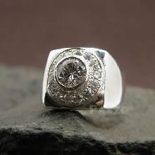 แหวนเพชร แหวนทรงสี่เหลี่ยม แหวนผู้ชาย ฝังเพชร แหวนผู้ชายเงินแท้