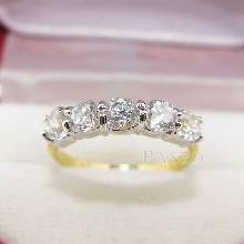 แหวนทอง แหวนเพชร แหวนแถว 5เม็ด ทอง90