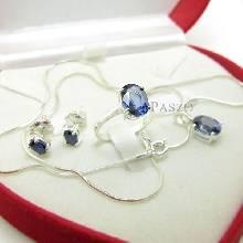 ชุดเครื่องประดับ พลอยไพลินสีน้ำเงิน เม็ดเดี่ยวสวยงาม แหวน ต่างหู จิ้ สร้อยคอ เงินแท้