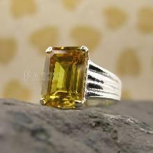 แหวนเงินแท้ ฝังพลอยบุษราคัม พลอยสีเหลือง แหวนเงินแท้925 แหวนพลอยบุษราคัม