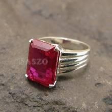 แหวนพลอยทับทิม พลอยสีแดง แหวนเงินแท้925 ฝังพลอยทับทิม เจียรสี่เหลี่ยม