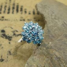 แหวนเงินแท้ ฝังพลอยสีฟ้า บลูโทพาซ