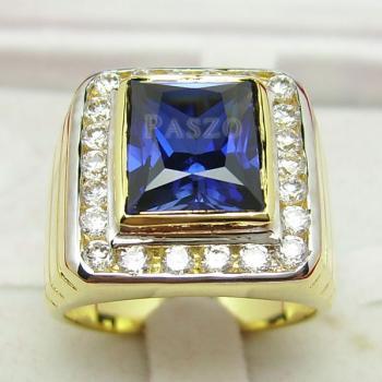แหวนผู้ชายทองแท้ แหวนพลอยไพลิน ล้อมเพชร #2