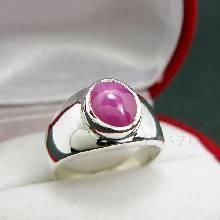 แหวนพลอยลิลลี่ สีแดง แหวนผู้ชาย แหวนเงินแท้