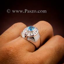 แหวนพลอยสีฟ้า ล้อมเพชร แหวนผู้ชาย แหวนพลอยบลูโทพาซ แหวนเงินแท้