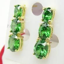 ต่างหู ทองแท้ 90% ต่างหู พลอยมรกต พลอยสีเขียว เรียง 3 เม็ดไล่ขนาด