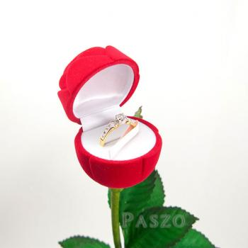 กล่องใส่แหวน วานเลนไทน์ ดอกกุหลาบก้านและใบ #2