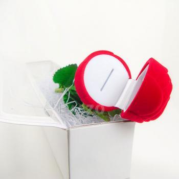กล่องใส่แหวน วานเลนไทน์ ดอกกุหลาบก้านและใบ #7