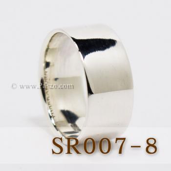 แหวนเกลี้ยงหน้าเรียบ กว้าง8มิล แหวนเงินขอบตรง #2