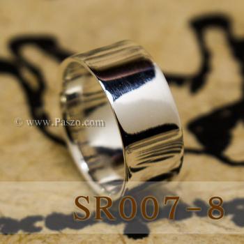 แหวนเกลี้ยงหน้าเรียบ กว้าง8มิล แหวนเงินขอบตรง #7