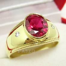 แหวนทับทิม แหวนทอง90 แหวนผู้ชาย ฝังพลอยสีแดง บ่าฝังเพชร แหวนทองผู้ชาย