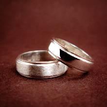 แหวนคู่ แหวนเงินเกลี้ยง ขอบแหวนลดระดับ ชุดแหวนเงินคู่