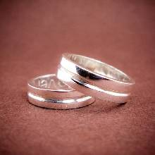 แหวนคู่ แหวนเกลี้ยงเซาะร่องกลาง แหวนเงิน