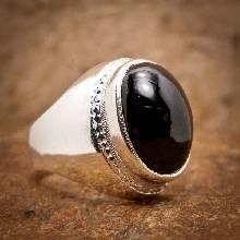 แหวนนิลแท้ แหวนผู้ชายเงินแท้ แหวนผู้ชายนิล เจียรหลังเบี้ย 925 แหวนผู้ชาย