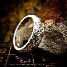 แหวนแกะลายไทย หน้ากว้าง6มิล แหวนหน้าโค้ง แหวนเงินแท้ แหวนเกลี้ยง