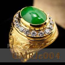 แหวนหยก แหวนทองผู้ชาย หยกแท้ ล้อมเพชร แกะสลักลายไทย แหวนผู้ชาย แหวนทอง