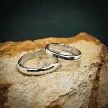 แหวนเงินคู่ แหวนเกลี้ยงคู่ แหวนหน้าโค้ง กว้าง 3 มิล